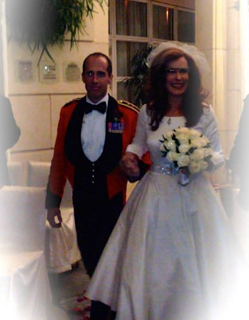 Marsha Collier Being Walked Down the Aisle Wearing Glass Close-Up
