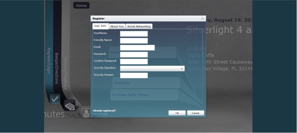 Register Screen with 3 Tabs