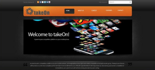 takeOn Front Page for Site
